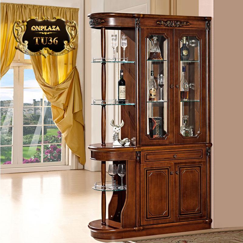Tủ rượu đẹp bằng gỗ sang trọng cho phòng khách cao cấp TU36