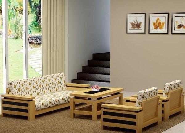 Mẫu bàn ghế phòng khách bằng gỗ đẹp giá rẻ được thiết kế nhẹ nhàng, tinh tế và hài hòa