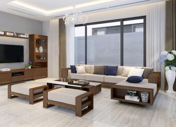 Sofa gỗ phòng khách đẹp mắt với thiết kế hiện đại sang trọng